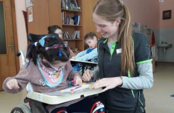 Ukraine Speech Pathology Student with Child